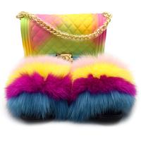 2020 summer women slides sandals furry logo custom slippers 3 pieces set jelly handbag mommy and me fur slides and purse set
