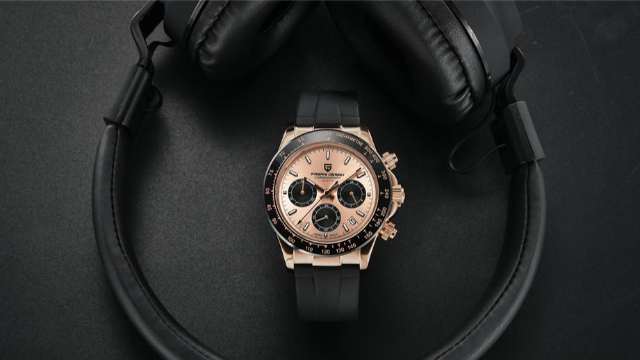 Top Marke PAGANI VK63 Rubber Strap Chronograph Uhr Männer Quarz Armbanduhr Luxus Sapphire Glas Sport Uhr relogio masculino