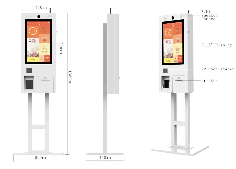 "21.5"" Touchscreen Restaurant Self Service Ordering Kiosk with Cash Acceptor"