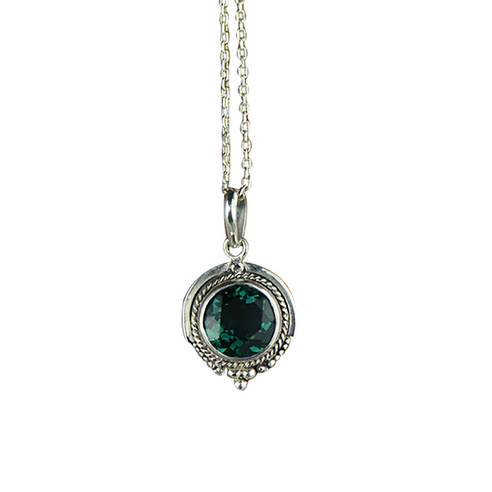 Real Pure 925 Silver <strong>Emerald</strong> <strong>Pendant</strong> For Women With <strong>Natural</strong> Stones Antique Retro Necklaces &amp; <strong>Pendants</strong> Pendentif Argent