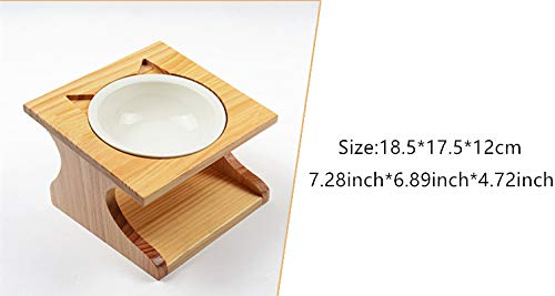 Bamboo Wood,Dog Cat Food Station Feeder