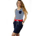 Sweetissima 2019 Summer Hot Sale Casual Cotton Striped Sleeveless Women Bodycon Vest Dress For Young Ladies Made In Italy