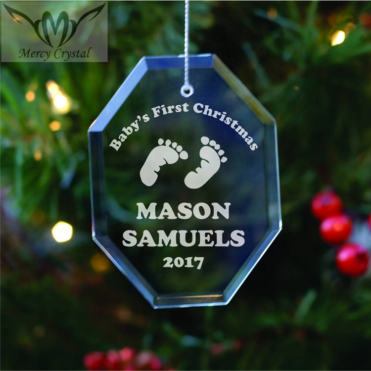 Personalized Glass Octangle <strong>Baby</strong> Ornament for <strong>First</strong> <strong>Christmas</strong> <strong>Baby</strong> Shower Gift
