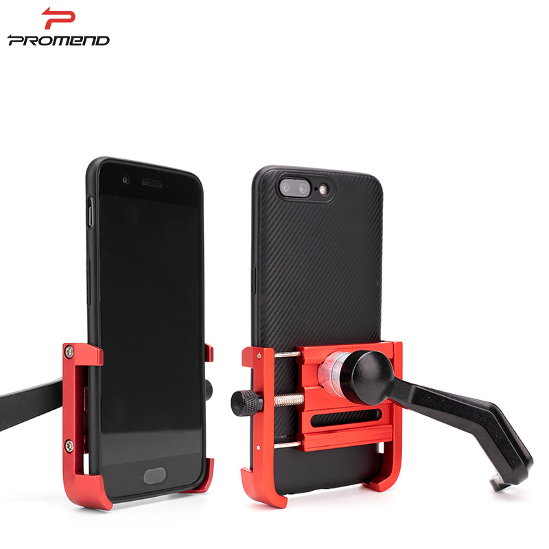 PROMEND MOTORCYCLE PHONE HOLDER ALUMINIUM ALLOY MOTOR PHONE HOLDER MOUNT ALL METAL 360 ROTATABLE CELL PHONE HOLDER
