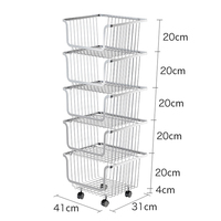 New design 5 Tier Stainless Steel metal stacking fruit vegetable stand basket for kitchen bathroom