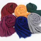 Wholesale hot sale pure color muslim women arab style crinkle cotton hijab scarf