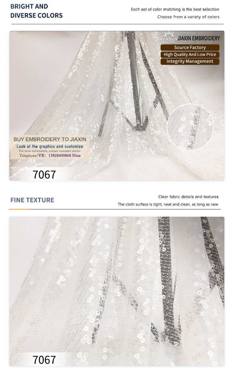 Factory direct sale polyester and Korean mesh transparent fabric fashion sequin embroidery fabric