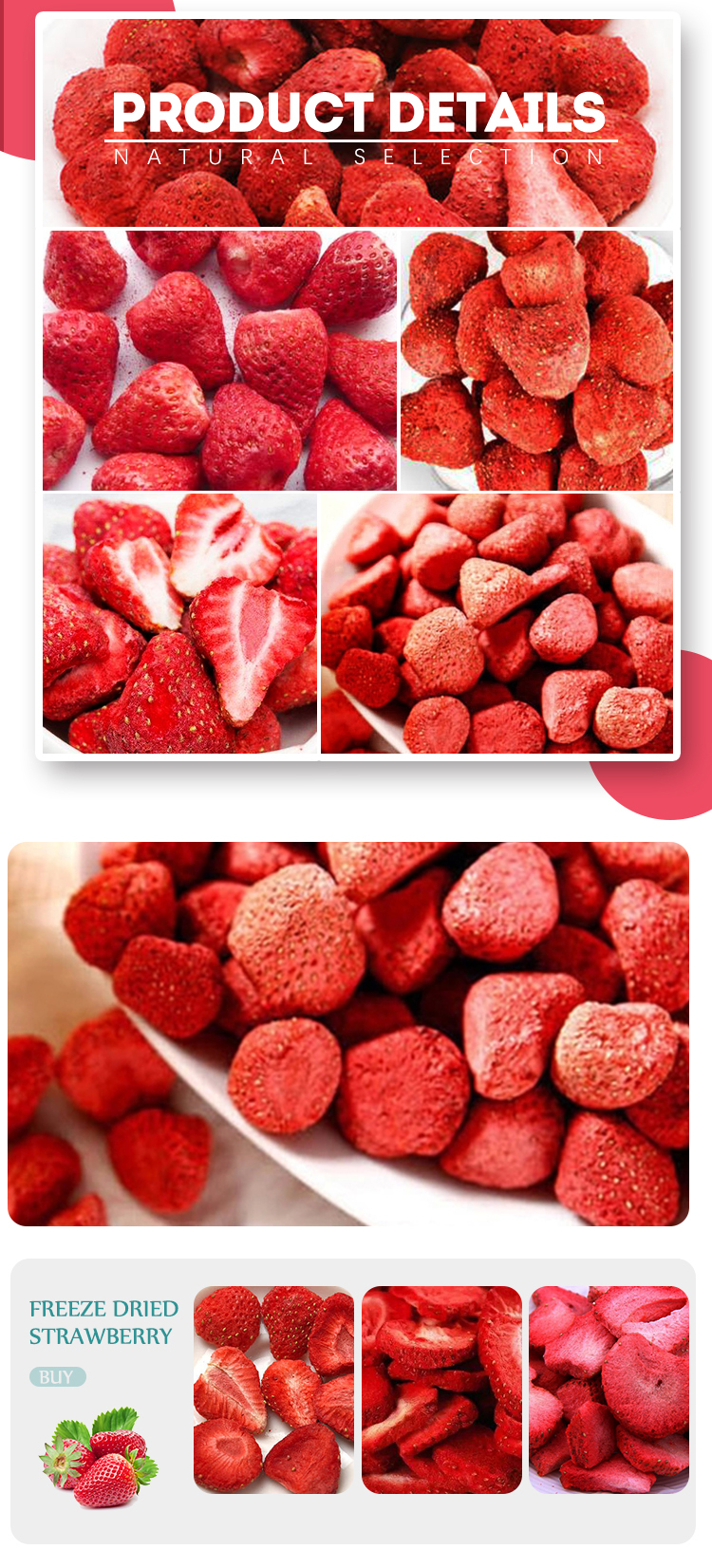 Healthy snacks strawberry fruits freeze dried strawberry