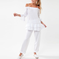 Chinese Clothing Manufacturers 100% linen Strap Tunic With Lace And Flounce Sleeves Women Blouse In White