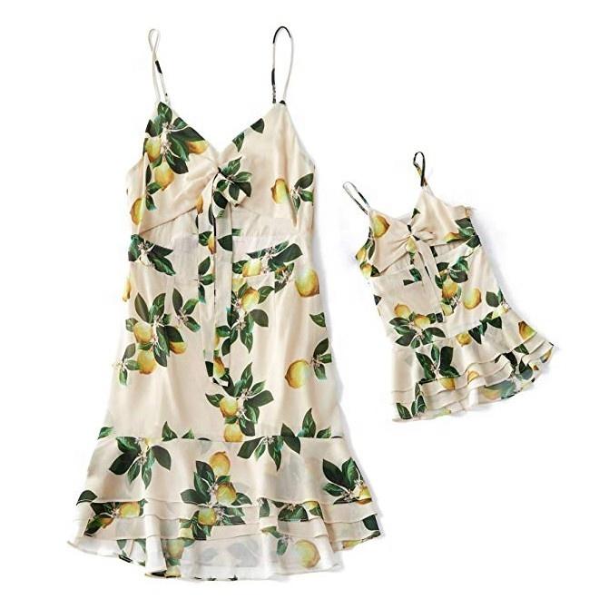 Mommy และ Me ชุดดอกไม้แม่ลูกสาว MINI ชุดครอบครัวจับคู่เสื้อผ้าเด็กชุดสาวแม่ชุดมินิฤดูร้อน