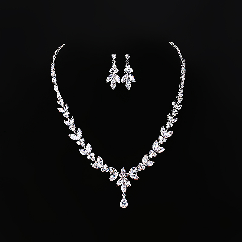 Marquise Cut Cubic Zirconia and Teardrop Necklace and Earring Bridal Wedding Jewelry Set, N/a