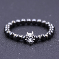 8mm Mens Jewelry Bead Bracelets Alloy Dragon Head Charm Lava Rock Natural Stone Bracelet For Sales