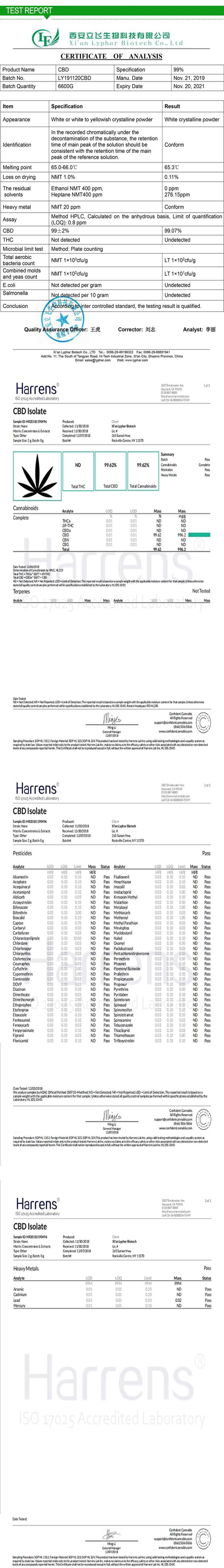 Large Stock Industrial Hemp Extract CBD Isolate 99 Powder