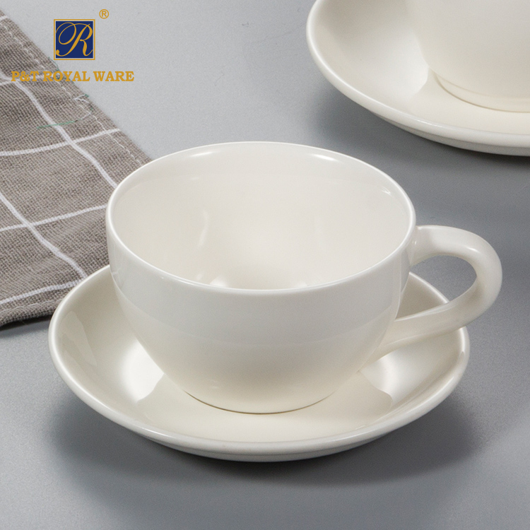 P&T Royal Ware Pure White Ceramics Porcelain 130ML Coffee Tea Cups