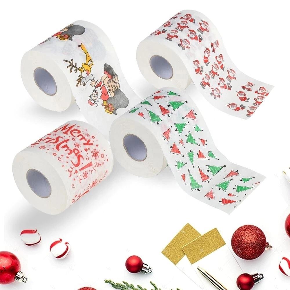 Faible QUANTITÉ MINIMALE DE COMMANDE Joyeux Noël Personnalisé Imprimé Papier Toilette Rouleau en Stock À Vendre