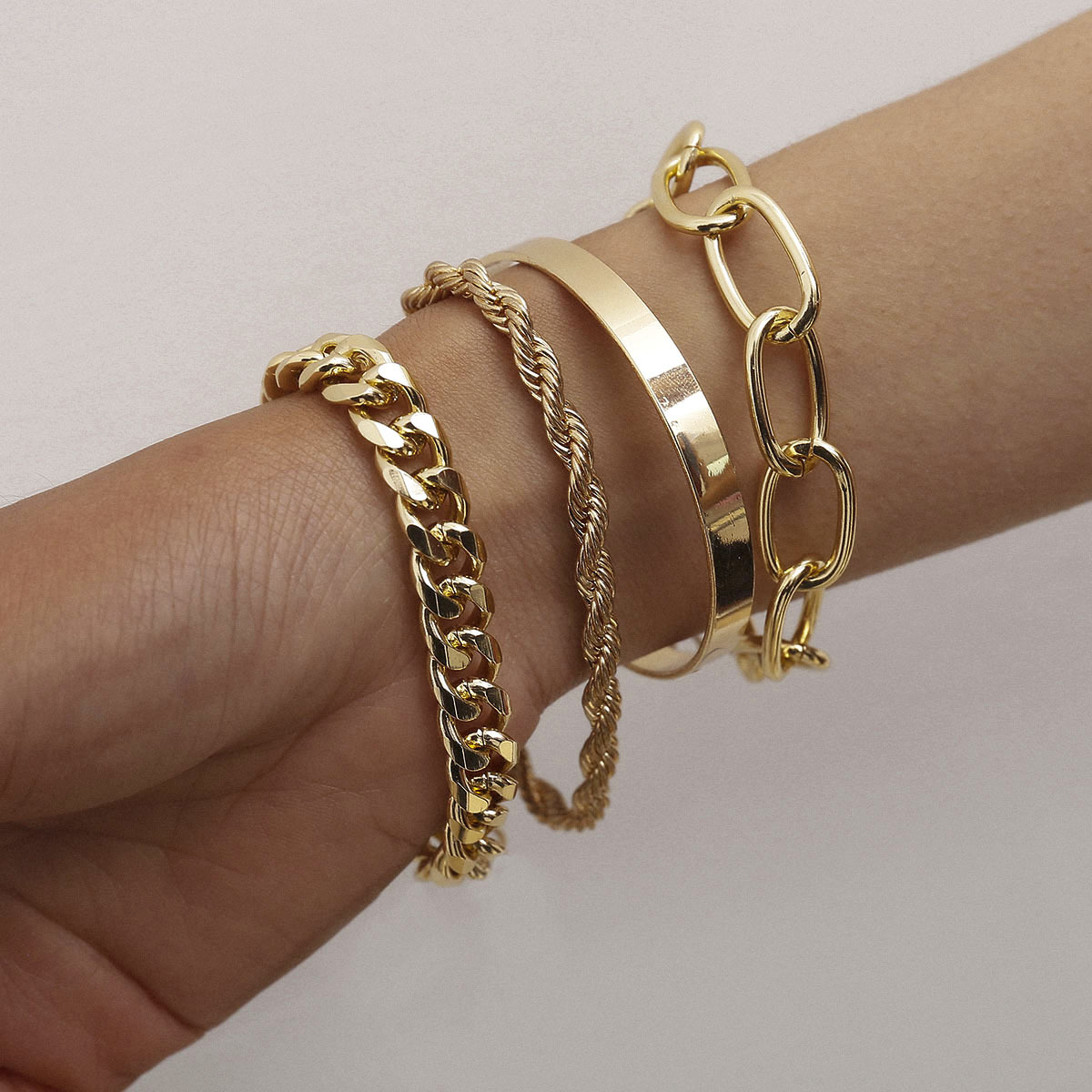 Vintage 14K Gold Plated Bracelets Bangles Set Charm Gold Bracelet For Women Jewelry <strong>Accessories</strong>