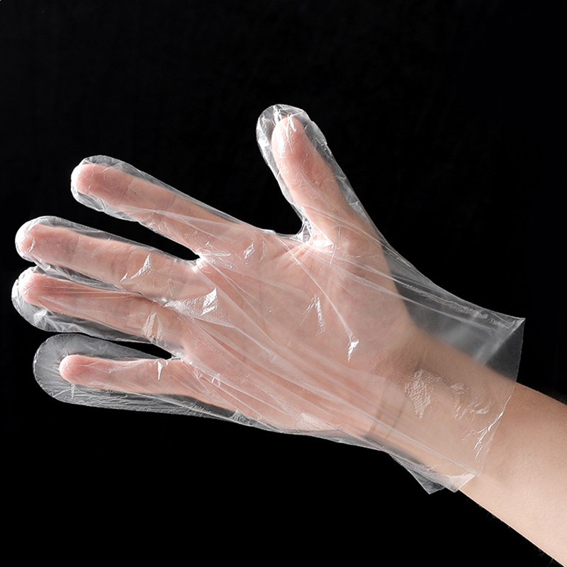 In Stock CE Certificated 100PCS/Bag Transparent Plastic Polyethylene Hand Disposable PE Gloves