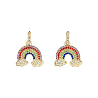 colorful clouds studded diamonds rainbow earrings