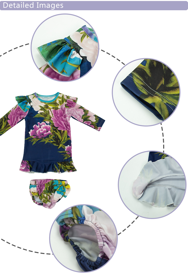 Anti-UV Digital Printing Fabric Flutter Design Ruffle Layer Top Bloomer Sets Kids Swim Sets 2pc suits