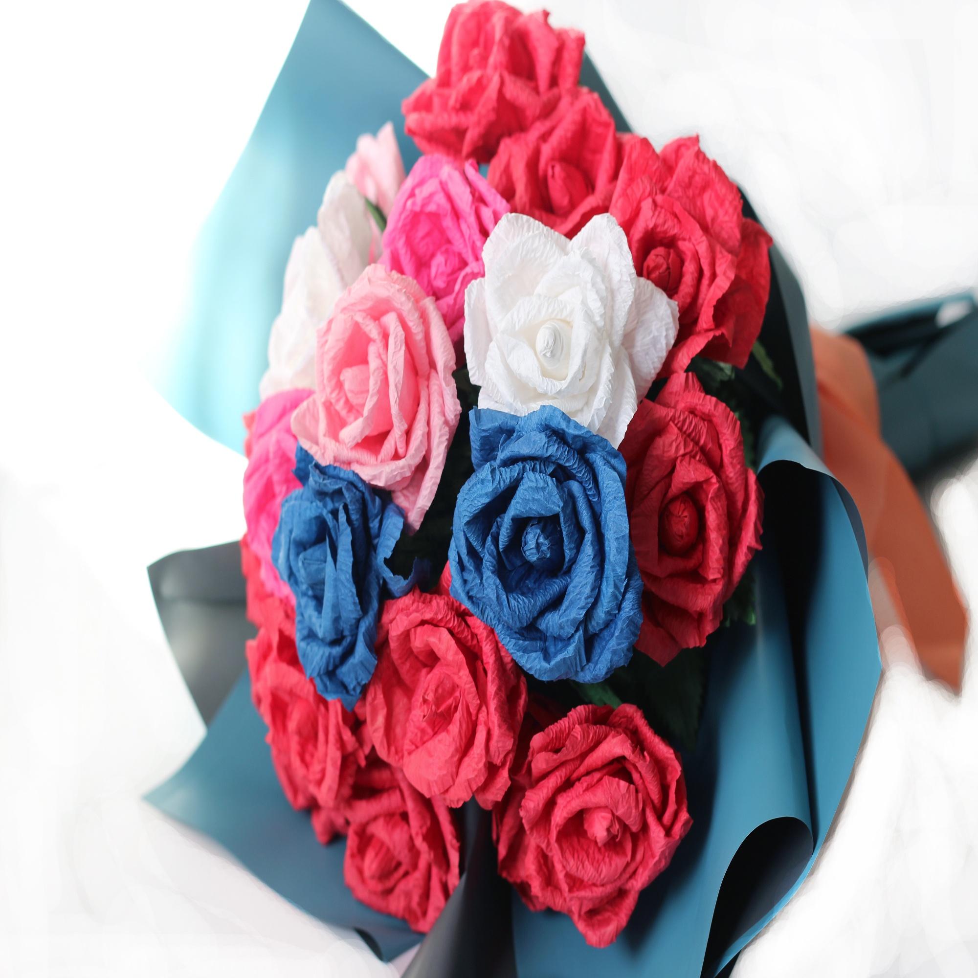 OEM ODM DIY Handcraft Kits Home Decoration Artificial Fake Paper Flower Making Supplies Rose