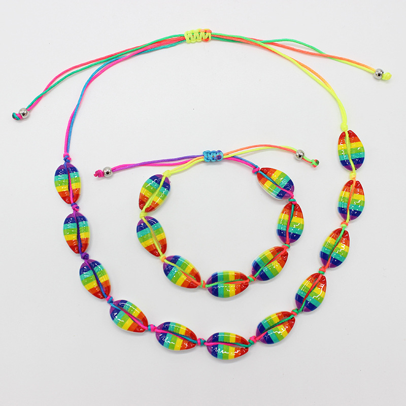 New Arrival Ocean Style Handmade Woven Adjustable Rope Bohemian Colorful Shell Necklaces Bracelets Set For Hawaii Holiday