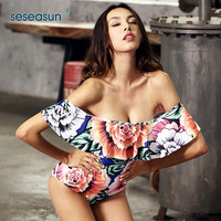 SESEASUN flouncing ruffle top women sexy one piece swimwear floral print bikini swimsuit mature female monokini beachwear