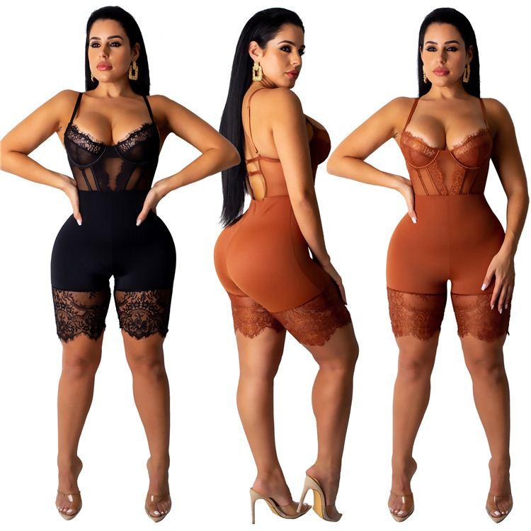 10AF234 ultimo disegno della cinghia di spaghetti del corsetto di pizzo sexy Sexy Tute E Pagliaccetti Delle Donne 2019