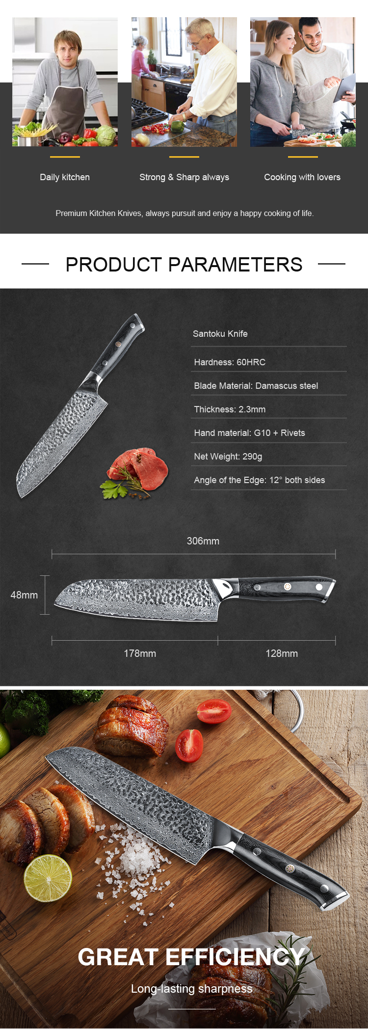 GRS176HST1 Couteaux Cuisine G10 Rivets Handle VG10 Hammer Pattern Santoku Blade Damascus Steel Knife
