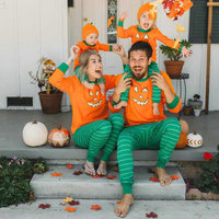 Dad And Mom New Arrived Halloween Pumpkin Shirts And Pants Plus Size Plain family Deer Pajamas Children Clothing set