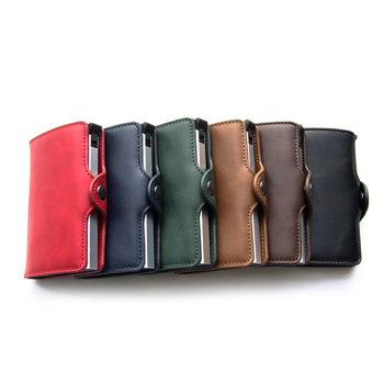 RFID Blocking Slim Wallet Side Hasp Aluminum Pop Up Slide Credit Cards Holder Leather Front Pocket Wallet