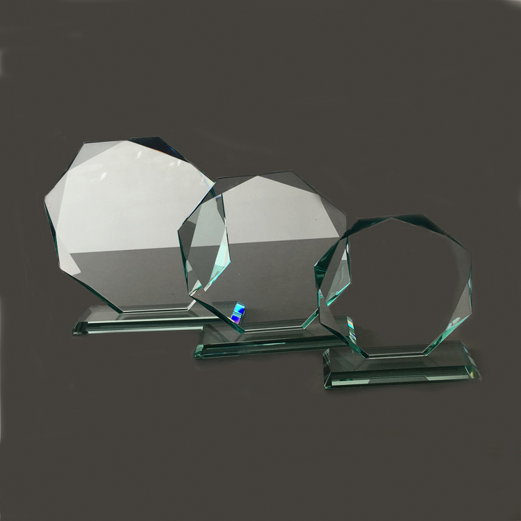 Various Size Cheap octagon Shape Blank Jade Glass Award Trophy For Engraved