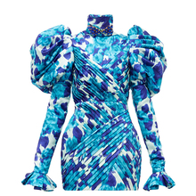 Panjang Puff Bahu Floral Cetak Lipit Mini Dress Pesta <span class=keywords><strong>Gaun</strong></span>