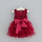 boutique burgundy flower girl party dress sleeveless embroider christmas new year baby girls dress