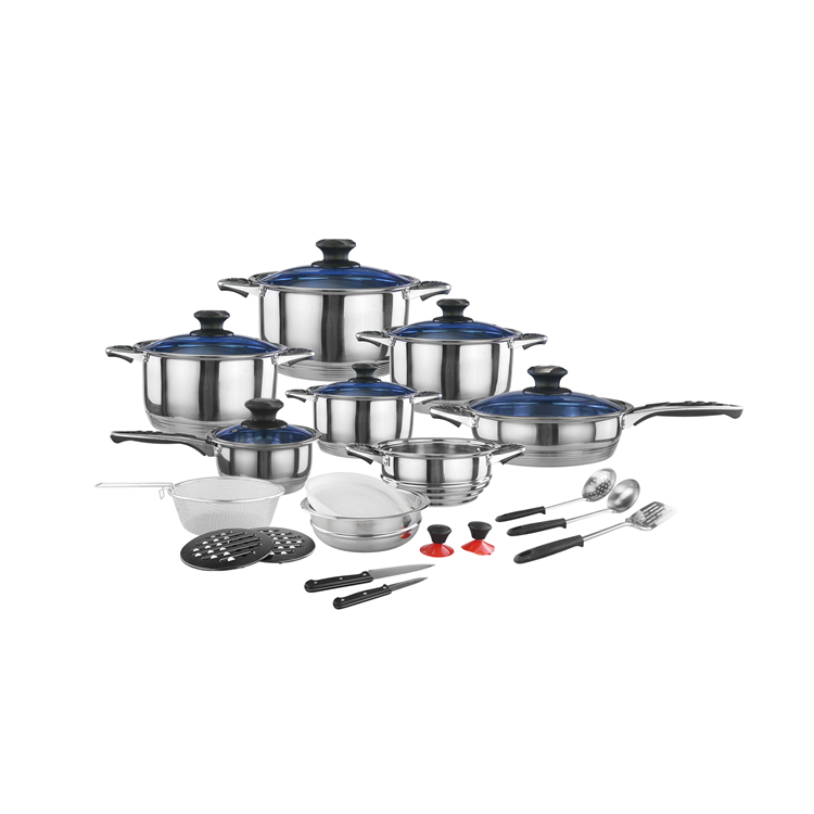 Wholesale restaurant home 25pcs kitchen nonstick stainless steel cookware set with utensils set