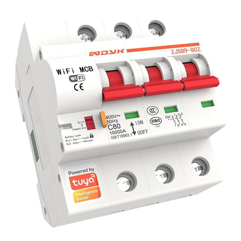 1 P/2 P/3 P/4 P WiFi Smart disyuntor 16A-125A interruptor automático sobrecarga de corta circuito de protección con Alexa Tuya App