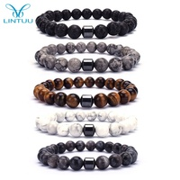 2020 Hot Selling Wholesale Custom 8mm Magnet Charm Beads Stretch Natural Stone Lava Bead Bracelet For Couple