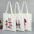 Custom logo promotional fabric tote zipper grocery shopping organic cotton bag