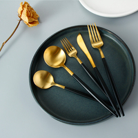 Luxury Tableware 18/10 Hotel Restaurant Matte Black Color Handle Flatware Gold Stainless Steel Cutlery Set