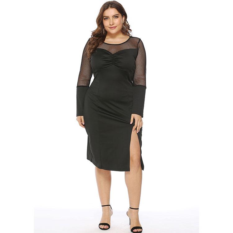Langarm kleid mesh stoff perspektive schlitz basis rock sexy schwarz elegante cocktail kleid plus größe cocktail kleid