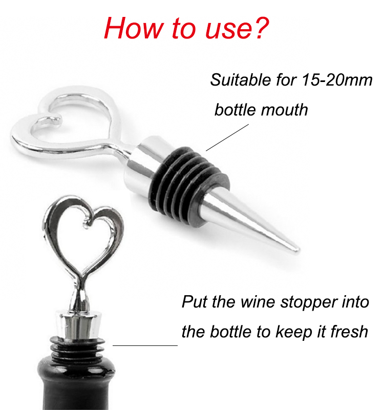Wedding give a gift in return beverage bottle stopper heart shape wine metal and craft wine stopper