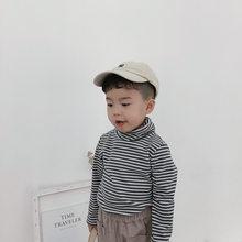 Зимние плотные полосатые футболки для мальчиков хлопковые Базовые Футболки с высоким воротником для девочек, детская универсальная одежда...(Китай)