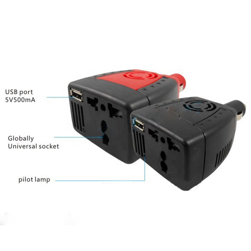 150W 12V DC to 220V AC Cigarette Lighter Power Supply Car Power Inverter Adapter with 0.5A USB Charger Port Audio Transformer