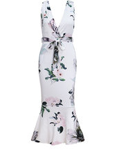 Сезон: весна–лето модное торжественное платье сексуальное платье с v-образным воротом, с принтами в виде листка лотоса вечерние платье элег...(Китай)