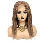 New long straight black synthetic hair lace front braided wigs natural micro braided lace front wigs box braided lace wig