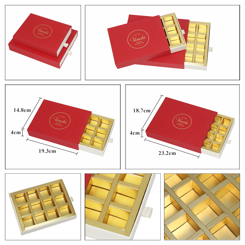 Luxury wedding custom design candy sweets truffle chocolate packaging gift box with drawer inserts