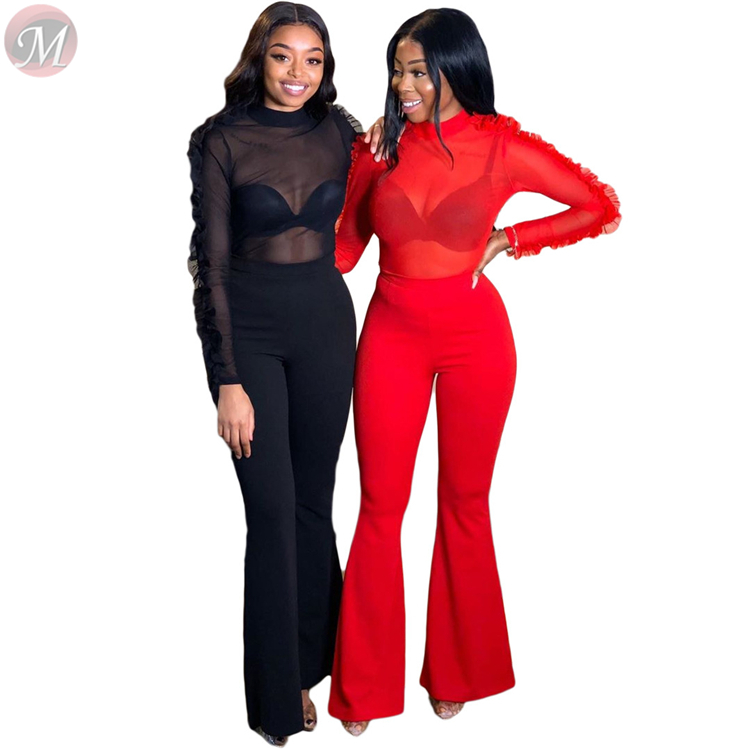 9121808 Sexy ruffle sleeve mesh perspective solid color clubwear flared trousers Clothing 2 Piece Set Women