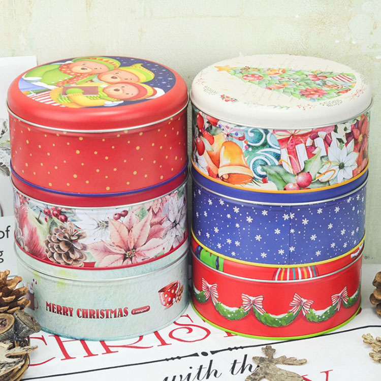 Gift metalen cookie ronde blikje verpakking biscuit box container kerst tin