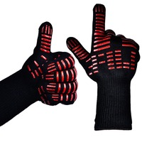 Custom Logo Black Aramid Barbeque Oven Mitts, OEM 932F Extreme Heat Resistant BBQ Grill Gloves For Kitchen Cooking