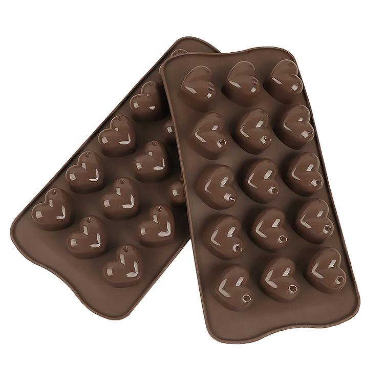 Amazon Best Selling 15-hole chocolate fudge silicone mold heart-shaped chocolate cake decoration DIY ice tray baking mold