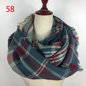 Wholesale winter warm acrylic plaid infinity scarf WA002